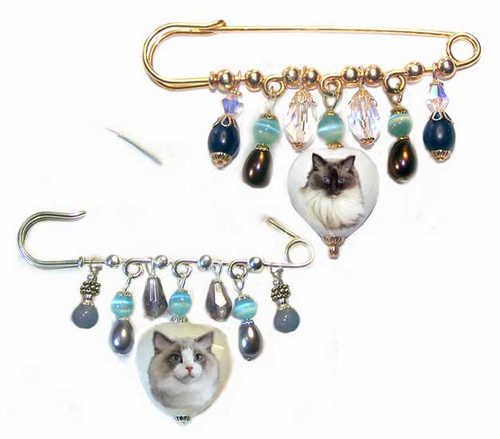 Bi-Color Ragdolls, Seal or Blue Point Ragdoll Cat Photo on a unique Malaysia jade Gemstone Kilt Pin. Crystals and stones to match the cat's colors on a silver or gold pin.