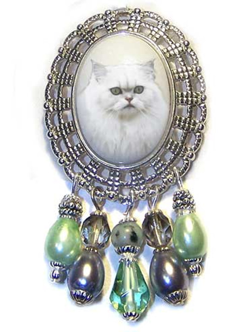 Traditional White Persian Gemstone Crystal Brooch