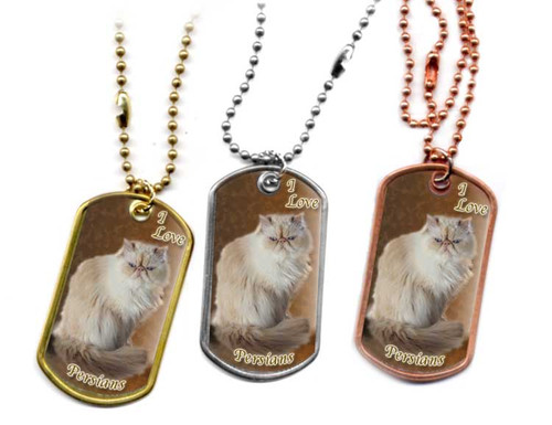 I Love Persians Dog Tag Necklace