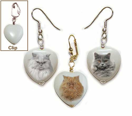Persian Cat Heart Earrings