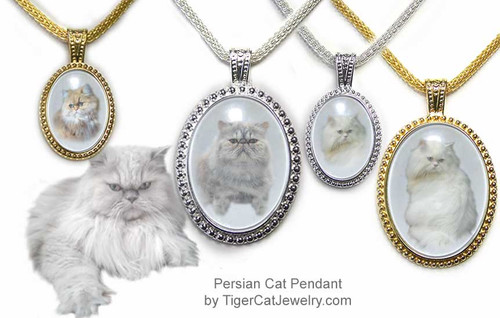 $25.99 Persian Cat pendant necklace with photos under glass cabochon in ornate frame. 3 sizes, 2 colors.Three fur colors  #PersianCatJewelry#PersianCat#CatJewelry#PersianCatPendant#TigerCatJewelry#PetMemorial