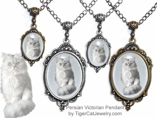$23.99 Persian Cat photo, is featured on Victorian cat pendant necklace under a glass dome. Optional text on back. A complete line for Persian Cat lovers.#PersianCatJewelry#PersianCat#VictorianCatJewelry#PersianCatPendant#TigerCatJewelry#PetMemorial