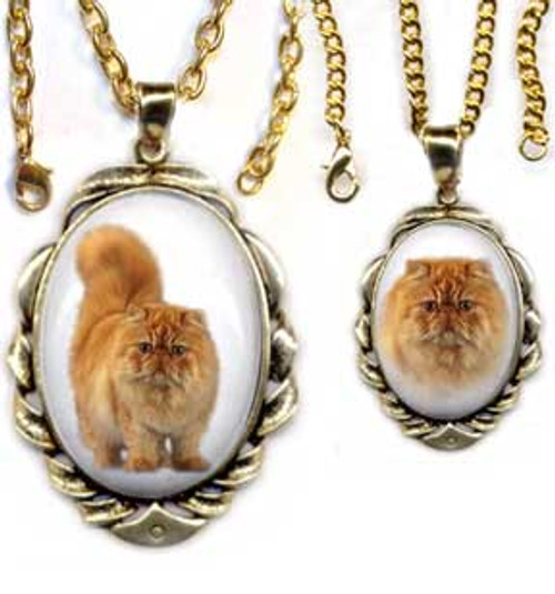 Persian Cat Scrolled Pendant - gold