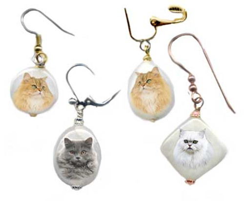 Persian Cat Snow quartz geometric shaped  earrings