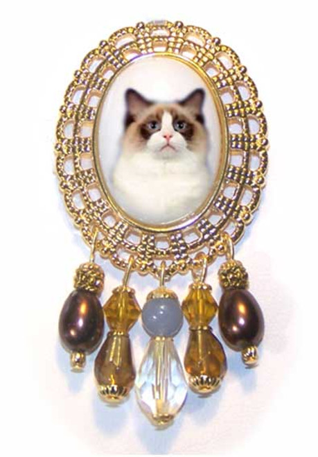 Seal Bi-Color Ragdoll Cat Brooch