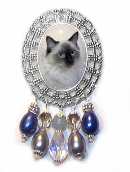 Seal Point Ragdoll Filigree Brooch Pin - Silver