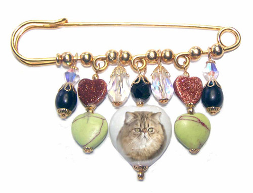 Persian Cat Gemstone Kilt Pin - gold