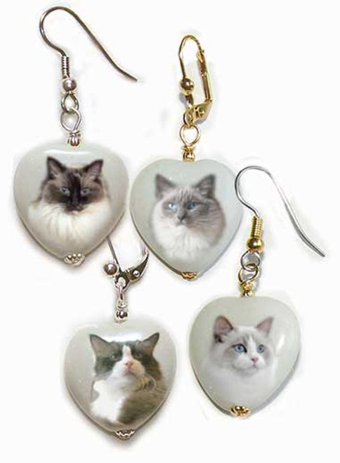Ragdoll Cat gemstone heart earrings