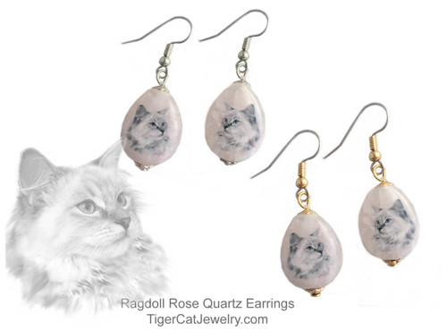 $16.99 A Ragdoll Cat ink sketch is featured on Rose Quartz gemstone earrings. Translucent with a pink tint.Trimmed with gold or silver plated metals. Surgical Steel fishhook tops.#RagdollCatJewelry#RagdollCat#CatJewelry#RagdollCatEarrings#TigerCatJewelry#PetMemorial#rosequartz