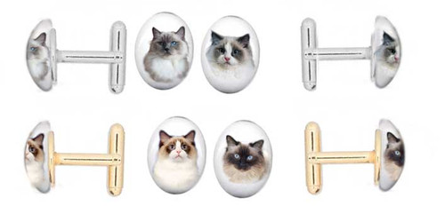 Ragdoll Cat cufflinks in gold and silver