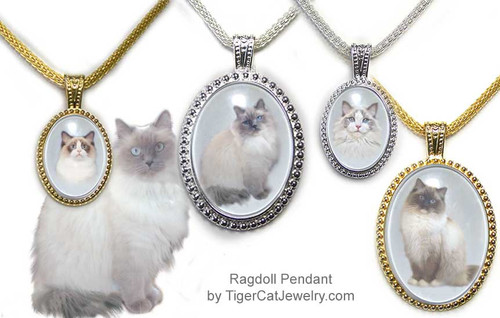 $25.99 Ragdoll Cat pendant necklace with photos under glass cabochon in ornate frame. 3 sizes, 2 colors  Seal Point, Blue Point, Seal Bi-Color and Blue BiColor#RagdollCatJewelry#RagdollCat#CatJewelry#RagdollCatPendant#TigerCatJewelry#PetMemorial