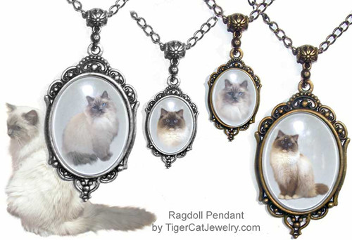 $23.99 Ragdoll Cat is featured on Victorian cat breed jewelry pendant necklace. Two sizes, two colors, two cat photos from which to choose.  Optional text on back. #RagdollCatJewelry#RagdollCat#CatJewelry#RagdollCatPendant#TigerCatJewelry#PetMemorial#VictorianCatJewelry