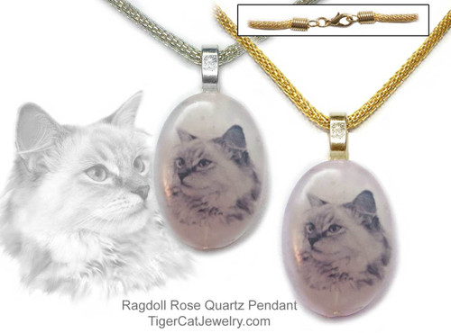$16.99 A Ragdoll Cat ink sketch is featured on a Rose Quartz photo pendant. Trimmed in gold or silver plated metals. Translucent with a pink tint.#RagdollCatJewelry#RagdollCat#CatJewelry#RagdollCatPendant#TigerCatJewelry#PetMemorial#RoseQuartz