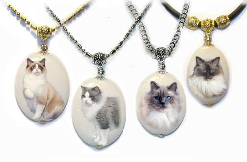 Point and Bi-Color Ragdoll cat dolomite photo pendant