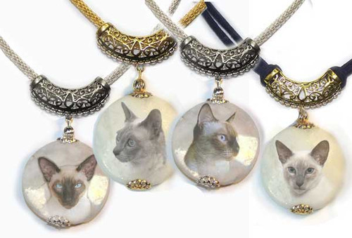 Siamese Cat Filigree and Marble Pendant