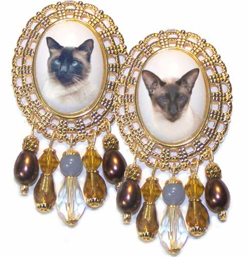 Siamese Cat Gold Filigree Brooch