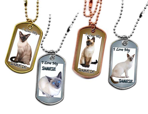 Traditional G.I. type metal dog tag with your favorite Siamese Cat photo. Choose Stainless, brass or copper.