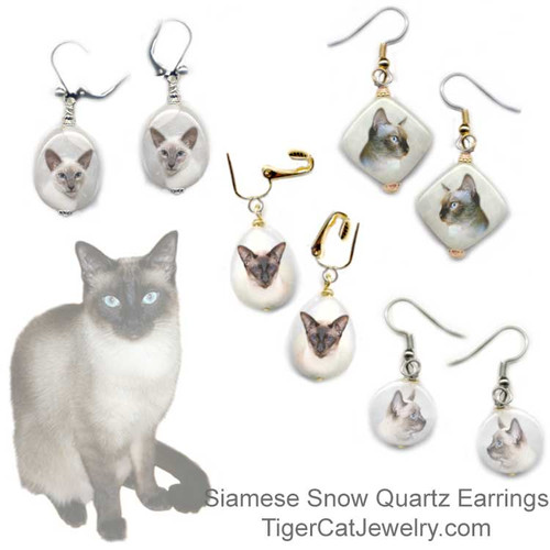 $16.99 Seal Point and Blue Point, Traditional and Classic Siamese Cat  quartz earrings . Choose between  4 shapes and 2 metal colors. Pierced and non-pierced clip available. Optional gift box. #SiameseCatJewelry#SiameseCat#CatJewelry#SiameseCatEarrings#TigerCatJewelry#PetMemorial