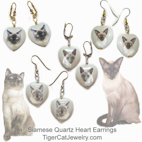 $16.99 Seal Point and Blue Point, Traditional and Classic Siamese Cat  quartz heart earrings . Choose between  4 photos and 2 metal colors. Pierced and non-pierced clip available. Optional gift box.#SiameseCatJewelry#SiameseCat#CatJewelry#SiameseCatEarrings#TigerCatJewelry#PetMemorial#heartearrings