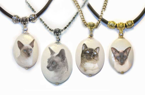 Traditional Seal Point Siamese cat dolomite photo pendant