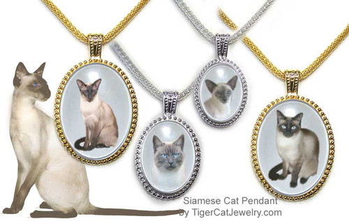 $25.99 Siamese Cat necklace pendants with Siamese Cat photos under glass cabochon in ornate frame. 3 sizes, 2 colors  Traditional and Classic Siamese.#SiameseCatJewelry#SiameseCat#CatJewelry#SiameseCatPendant#TigerCatJewelry#PetMemorial