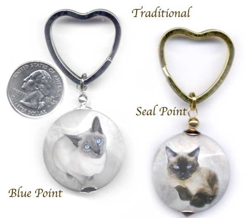 Traditional Seal and Blue point Siamese Cat Photo key ring.