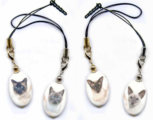 Siamese cat lanyard or cell phone dust plug on magnesite gemstone