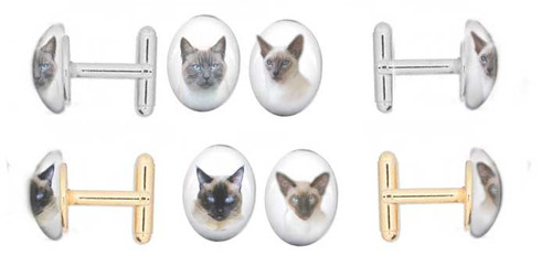 Traditional and Classic Siamese Cat cufflinks in gold and silver