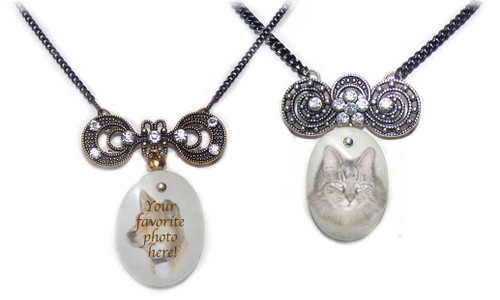 Rhinestone and Malaysian Jade Pet Memorial Pendant