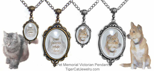 $25.99 A favorite cat, dog or pet photo is featured on a Victorian pendant necklace. A memorial or tribute to a beloved animal or person. Optional text on back.#PetMemorialJewelry#PetMemorial#PetMemorialPendant#VictorianPetMemorial#TigerCatJewelry#PetMemorial