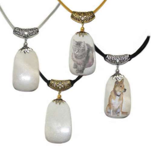 Pet Memorial Snow Quartz Dog Tag