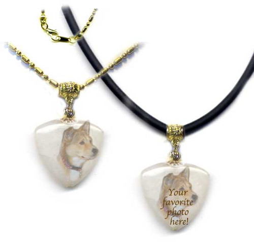 Pet Memorial Amulet Pendant on snow quartz -gold