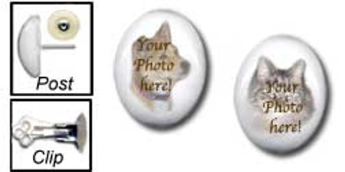 A Pet Memorial with your favorite photo is featured on Stud Earrings. The cabochons are  Mountain Jade gemstones available  for pierced or non-pierced ears.
