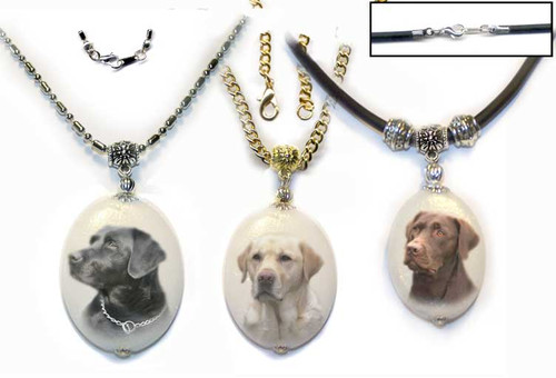 Black, yellow or chocolate Labrador Retriever Photo Pendant necklace on dolomite stone. Pick silver or gold trim.