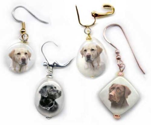 Choose Black, Yellow or Chocolate Labrador Retriever earrings with photos on snow quartz