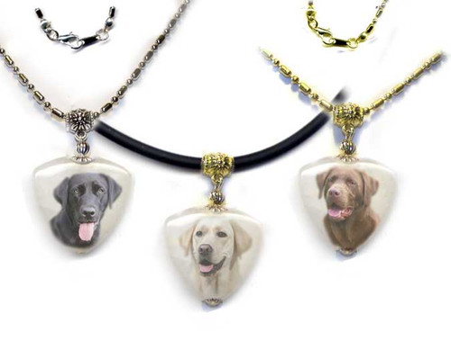 Black, yellow or chocolate Labrador Retriever Photo Pendant necklace on quartz stone. Pick silver or gold trim.