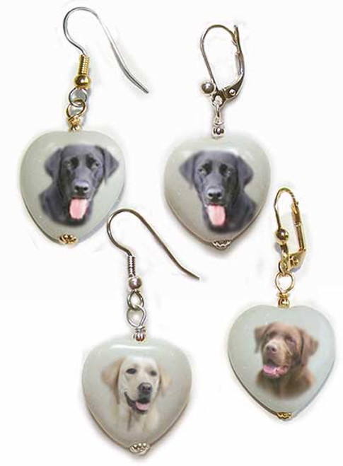 Labrador Retriever gemstone heart earrings - Gold or Silver - Pierced or clip-on
