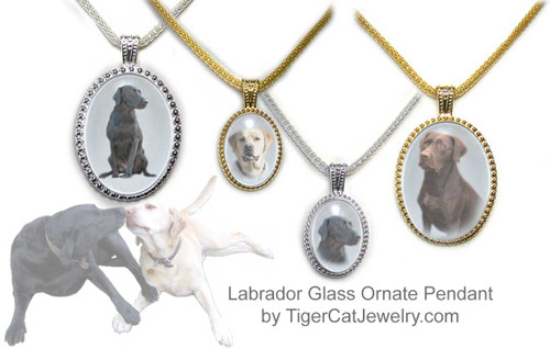 $25.99 Labrador Retriever Dog pendant necklace features a photo choices of three Labrador Retrievers under glass dome. 3 sizes, 2 colors. Earrings available.#LabradorRetrieverDog#LabradorRetrieverJewelry#LabradorRetrieverNecklace#LabradorRetrieverPendant#BlackLabDogpendantnecklace#YellowLabDogpendantnecklace