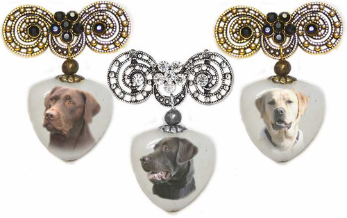 Black, yellow or chocolate Labrador Retriever Photo Pin on quartz stone. Pick silver or  Gold rhinestone trim.