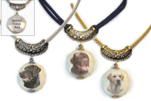 Black, yellow or chocolate Labrador Retriever Photo Pendant necklace on Marble stone. Pick silver or gold trim.