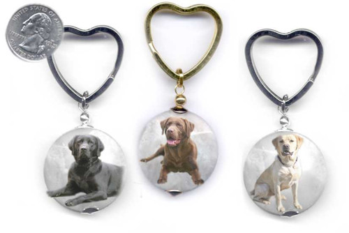 Labrador Retriever photo key ring with heart ring on faceted marble gemstone. Silver and gold colors.