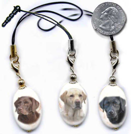 Labrador Retriever photo lanyard or cell phone dust plug on magnesite gemstone. Silver and gold colors.