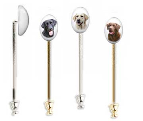 Labrador Retriever photo lapel stick pin with gemstone cabochon. Silver and gold shaft.