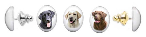 Labrador Retriever photo tie tac pin with gemstone cabochon. Silver and gold clutch.