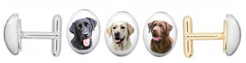Black, Yellow or Chocolate Labrador Retriever photo Cuff Links with gemstone cabochon. Silver and gold backing.
