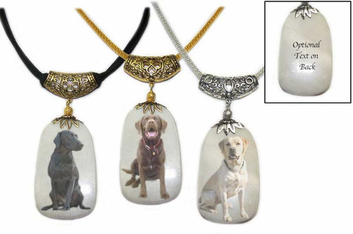 Labrador Retriever photos on a  Dog Tag shaped Snow Quartz  gemstone.Silver and gold colored trim with chain or rope.