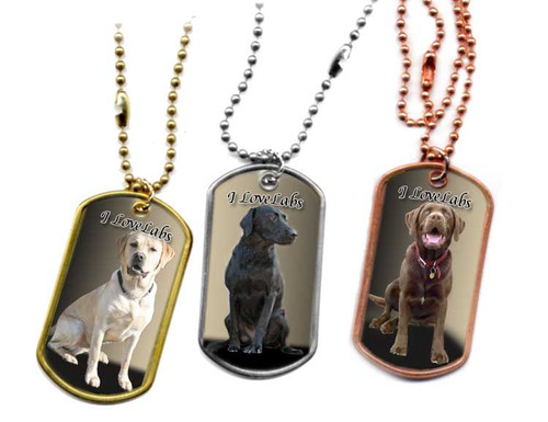 Traditional G.I. type metal dog tag with your favorite Labrador Retriever  photo. Choose Stainless, brass or copper.