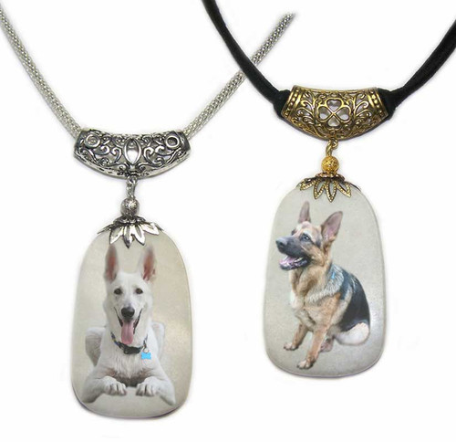 German Shepherd photos on a  Dog Tag shaped Snow Quartz  gemstone.Silver and gold colored trim with chain or rope.