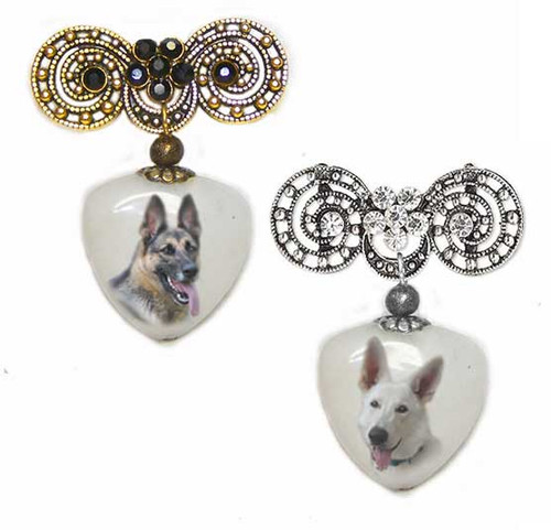 German Shepherd Photo Pin on quartz stone. Pick silver or  Gold rhinestone trim.