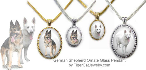 $25.99 Ornate German Shepherd pendant necklace features photo of a traditional Shepherd or a White Shepherd, your choice, on a framed glass pendant.Three sizes, two colors.#GermanShepherdDog#GermanShepherdJewelry#GermanShepherdNecklace#GermanShepherdPendant#GermanShepherddogpendantnecklace